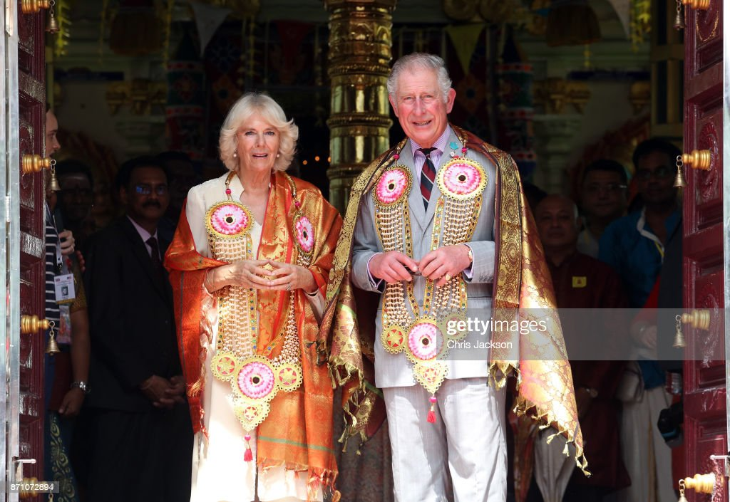 Camilla, Duchess of Cornwall and Prince Charles, Prince of Wales arrive at the Sri Mahamariamman Temple on November 7, 2017 in George Town, Penang, Malaysia. Prince of Wales and Camilla, Duchess of Cornwall are on a tour of Singapore, Malaysia, Brunei and India.