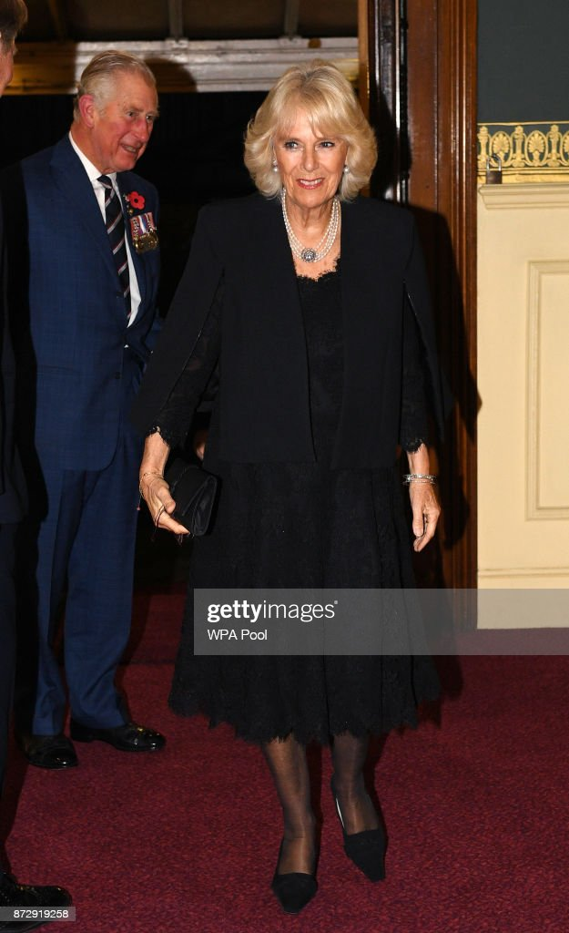 Camilla, Duchess of Cornwall and Prince Charles, Prince of Wales arrive at the annual Royal Festival of Remembrance to commemorate all those who have lost their lives in conflicts at the Royal Albert Hall on November 11, 2017 in London, England.