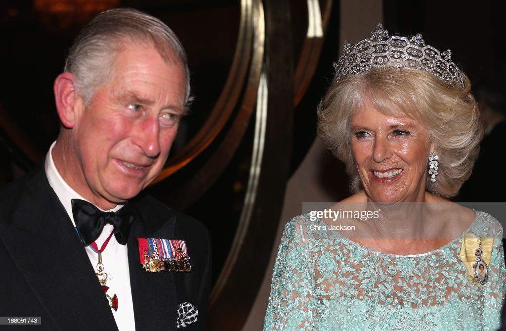 Camilla, Duchess of Cornwall and Prince Charles, Prince of Wales attend the CHOGM Dinner at the Cinnamon Lakeside Hotel during the Commonwealth Heads of Government 2013 Opening Ceremony at the Lotus Theatre on November 15, 2013 in Colombo, Sri Lanka. The Royal couple are visiting Sri Lanka in order to attend the 2013 Commonwealth Heads of Government Meeting. Prince Charles, representing the Queen will open the meeting.