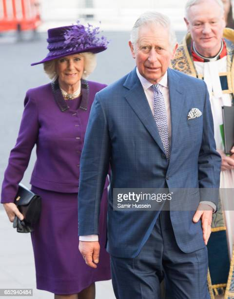 Camilla Duchess of Cornwall and Prince Charles Prince of Wales attends Commonwealth day celebrations service and reception at Westminster Abbey on...