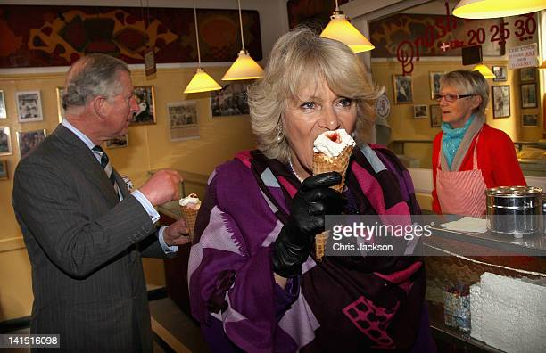 Camilla Duchess of Cornwall and Prince Charles Prince of Wales enjoy an icecream from Brostræde FlødeIS the oldest icecream shop in Denmark during a...