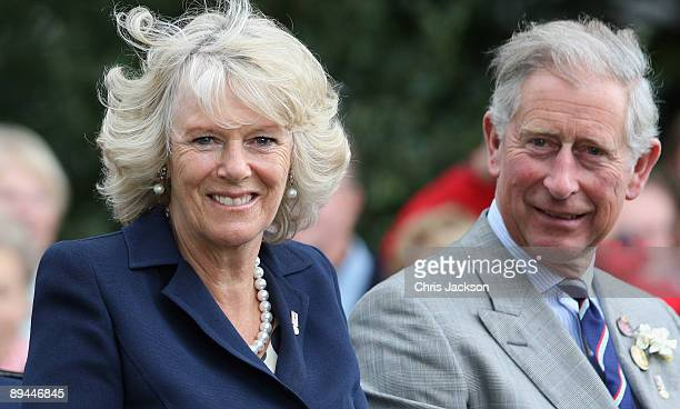 TRH Camilla Duchess of Cornwall and Prince Charles Prince of Wales leave Sandringham Flower Show in a horse drawn carriage on July 29 2009 in Kings...