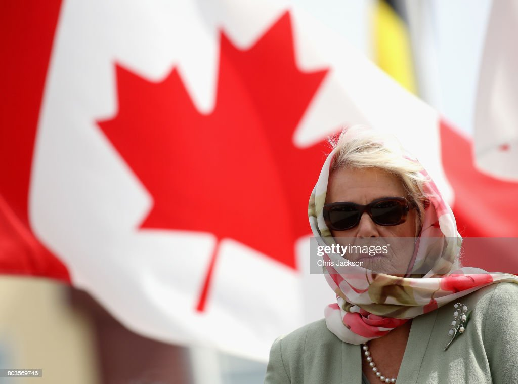 Camilla, Duchess of Cornwall and Prince Charles, Prince of Wales listen to traditional throat singers during an official welcome ceremony at Nunavut Legislative Assembley during a 3 day official visit to Canada on June 29, 2017 in Iqaluit, Canada.