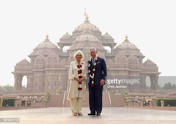 Camilla Duchess of Cornwall and Prince Charles Prince of Wales pose outside the Akshardham Temple during day 3 of an official visit to India on...