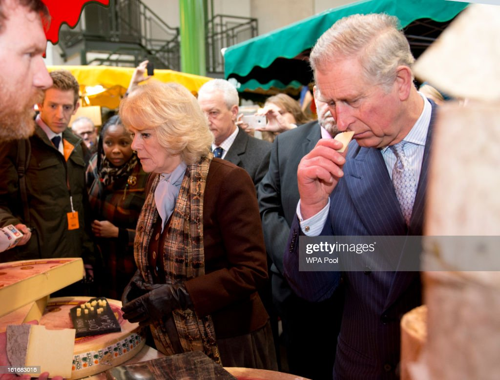 <a gi-track='captionPersonalityLinkClicked' href=/galleries/search?phrase=Camilla+-+Duchess+of+Cornwall&family=editorial&specificpeople=158157 ng-click='$event.stopPropagation()'>Camilla</a>, Duchess of Cornwall and <a gi-track='captionPersonalityLinkClicked' href=/galleries/search?phrase=Prince+Charles&family=editorial&specificpeople=160180 ng-click='$event.stopPropagation()'>Prince Charles</a>, Prince of Wales inspect some cheese during a visit to Borough Market on February 13, 2013 in London, England.