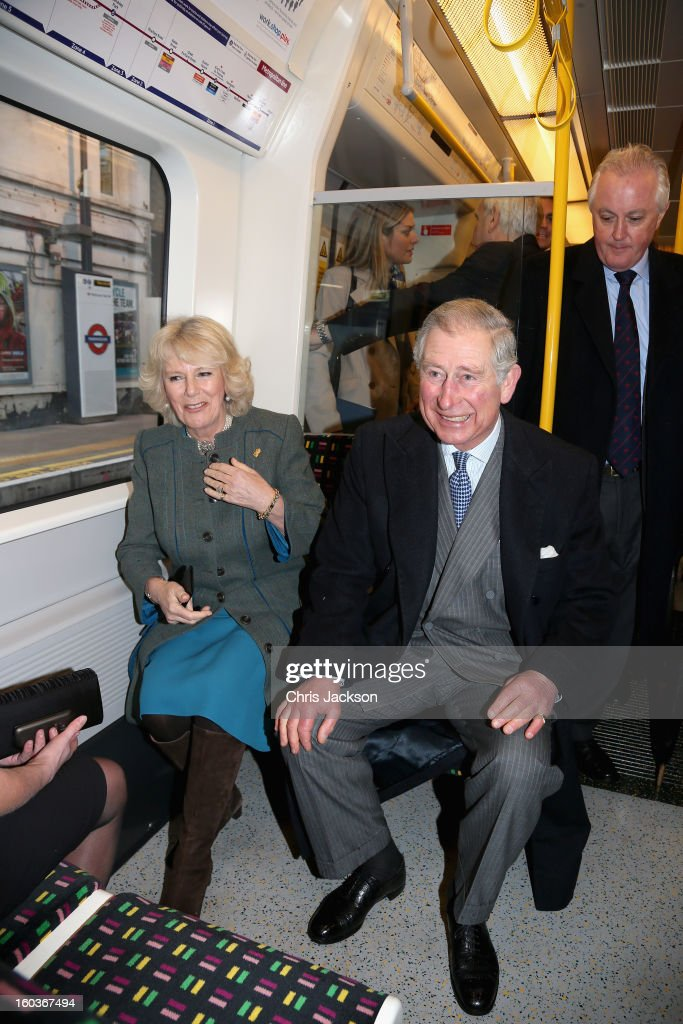 <a gi-track='captionPersonalityLinkClicked' href=/galleries/search?phrase=Camilla+-+Duchess+of+Cornwall&family=editorial&specificpeople=158157 ng-click='$event.stopPropagation()'>Camilla</a>, Duchess of Cornwall and <a gi-track='captionPersonalityLinkClicked' href=/galleries/search?phrase=Prince+Charles+-+Prince+of+Wales&family=editorial&specificpeople=160180 ng-click='$event.stopPropagation()'>Prince Charles</a>, Prince of Wales travel on a Metropolitan underground train from Farringdon to King's Cross as they mark 150 years of London Underground on January 30, 2013 in London, England.
