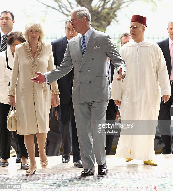 Camilla Duchess of Cornwall and Prince Charles Prince of Wales visit the Artisanal Centre on day three of a three day visit to Morocco on April 6...