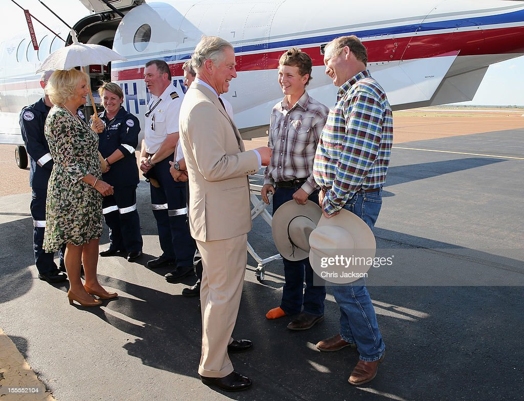 Camilla, Duchess of Cornwall and Prince Charles, Prince of Wales visit the Royal Flying Doctor Service on November 5, 2012 in Longreach, Australia. The Royal couple are in Australia on the second leg of a Diamond Jubilee Tour taking in Papua New Guinea, Australia and New Zealand.