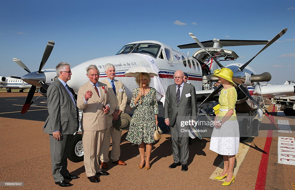 <a gi-track='captionPersonalityLinkClicked' href=/galleries/search?phrase=Camilla+-+Duchess+of+Cornwall&family=editorial&specificpeople=158157 ng-click='$event.stopPropagation()'>Camilla</a>, Duchess of Cornwall and <a gi-track='captionPersonalityLinkClicked' href=/galleries/search?phrase=Prince+Charles&family=editorial&specificpeople=160180 ng-click='$event.stopPropagation()'>Prince Charles</a>, Prince of Wales visit the Royal Flying Doctor Service on November 5, 2012 in Longreach, Australia. The Royal couple are in Australia on the second leg of a Diamond Jubilee Tour taking in Papua New Guinea, Australia and New Zealand.