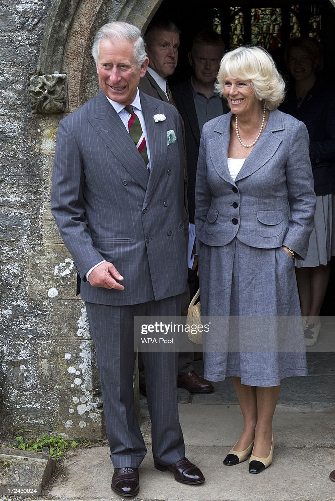 <a gi-track='captionPersonalityLinkClicked' href=/galleries/search?phrase=Camilla+-+Duchess+of+Cornwall&family=editorial&specificpeople=158157 ng-click='$event.stopPropagation()'>Camilla</a>, Duchess of Cornwall and <a gi-track='captionPersonalityLinkClicked' href=/galleries/search?phrase=Prince+Charles+-+Prince+of+Wales&family=editorial&specificpeople=160180 ng-click='$event.stopPropagation()'>Prince Charles</a>, Prince of Wales visit Rhug chapel during a tour of Rhug Estate Farm on July 2, 2013 Corwen, Denbighshire, Wales, United Kingdom.