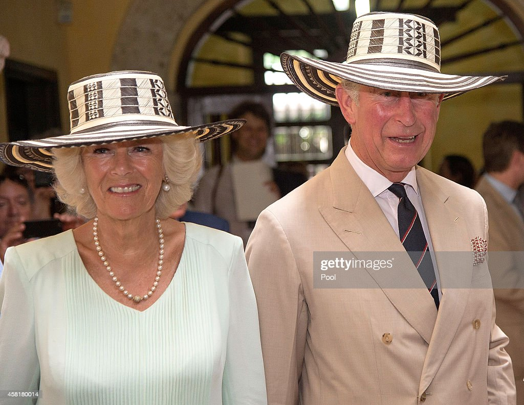 Camilla Duchess of Cornwall and Prince Charles Prince of Wales visit the Museo del Oro on October 31 2014 in Cartagena Colombia The Royal Couple are...