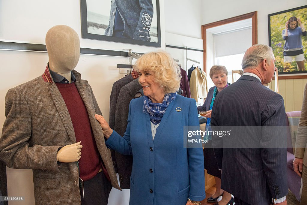 <a gi-track='captionPersonalityLinkClicked' href=/galleries/search?phrase=Camilla+-+Duchess+of+Cornwall&family=editorial&specificpeople=158157 ng-click='$event.stopPropagation()'>Camilla</a>, Duchess of Cornwall and <a gi-track='captionPersonalityLinkClicked' href=/galleries/search?phrase=Prince+Charles&family=editorial&specificpeople=160180 ng-click='$event.stopPropagation()'>Prince Charles</a>, Prince of Wales visit Magee of Donegal's Tweed Factory on May 25, 2016 in Letterkenny, Ireland. The royal couple are on a one day visit to Ireland having spent two days across the border in Northern Ireland. It is their first trip to Donegal.