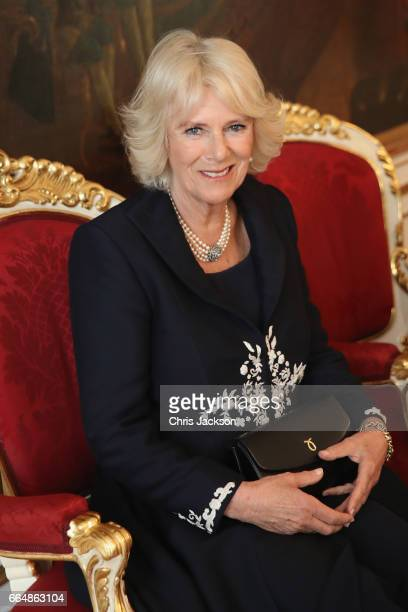 Camilla Duchess of Cornwall and Prince Charles Prince of Wales visit Hofburg Palace on April 5 2017 in Vienna Austria Her Royal Highness will...
