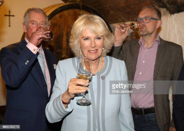 Camilla Duchess of Cornwall and Prince Charles Prince of Wales visit the Weinbau Buscheschank Obermann vineyard on April 6 2017 in Vienna Austria...