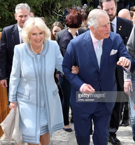 Camilla Duchess of Cornwall and Prince Charles Prince of Wales visit the Weinbau Buscheschank Obermann vineyard on April 6 2017 in Vienna Austria...