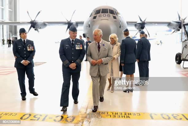 Camilla Duchess of Cornwall and Prince Charles Prince of Wales visit CFB Trenton during a 3 day official visit to Canada on June 30 2017 in Trenton...