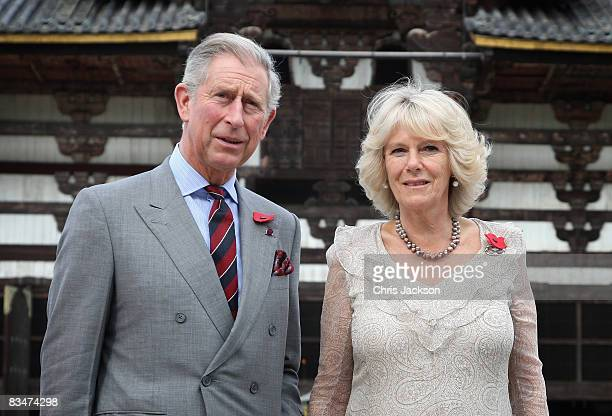 Camilla Duchess of Cornwall and Prince Charles Prince of Wales visit the Todaiji Temple on October 29 2008 in Nara Japan The ancient temple that is...