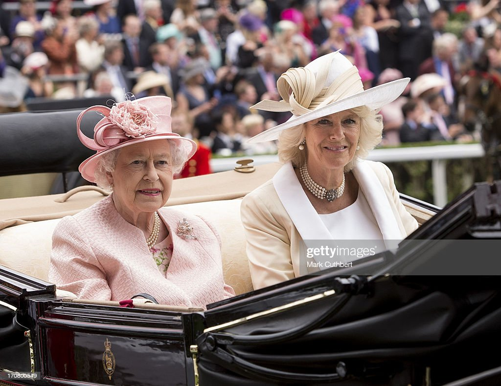 <a gi-track='captionPersonalityLinkClicked' href=/galleries/search?phrase=Camilla+-+Duchess+of+Cornwall&family=editorial&specificpeople=158157 ng-click='$event.stopPropagation()'>Camilla</a>, Duchess of Cornwall and Queen <a gi-track='captionPersonalityLinkClicked' href=/galleries/search?phrase=Elizabeth+II&family=editorial&specificpeople=67226 ng-click='$event.stopPropagation()'>Elizabeth II</a> attend Day 1 of Royal Ascot at Ascot Racecourse on June 18, 2013 in Ascot, England.