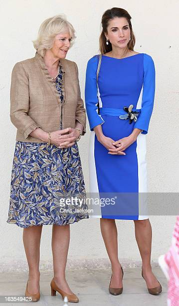 Camilla Duchess of Cornwall and Queen Rania of Jordan visit Mahis School on the second day of Charles and Camilla's visit to the country on March 12...