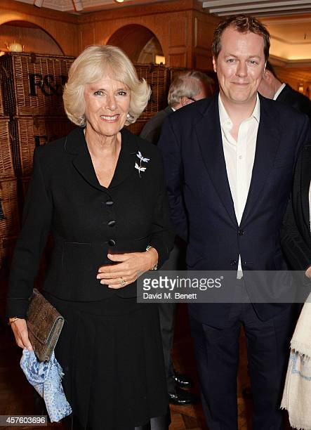 Camilla Duchess of Cornwall and son Tom Parker Bowles attend Fortnum Mason's Diamond Jubilee Tea Salon for the launch of Tom Parker Bowles' new book...