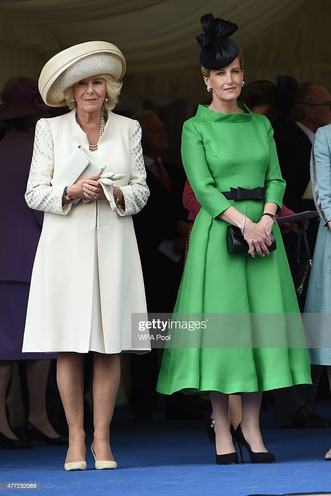 Camilla Duchess of Cornwall and Sophie Countess of Wessex attend the Order of the Garter Service at St George's Chapel in Windsor Castle on June 15...