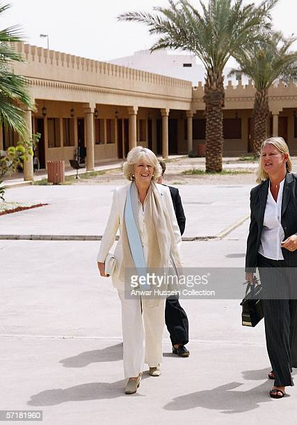 Camilla Duchess of Cornwal arrives at a charity organization for women on the sixth day of a 12 day official tour visiting Egypt Saudi Arabia and...