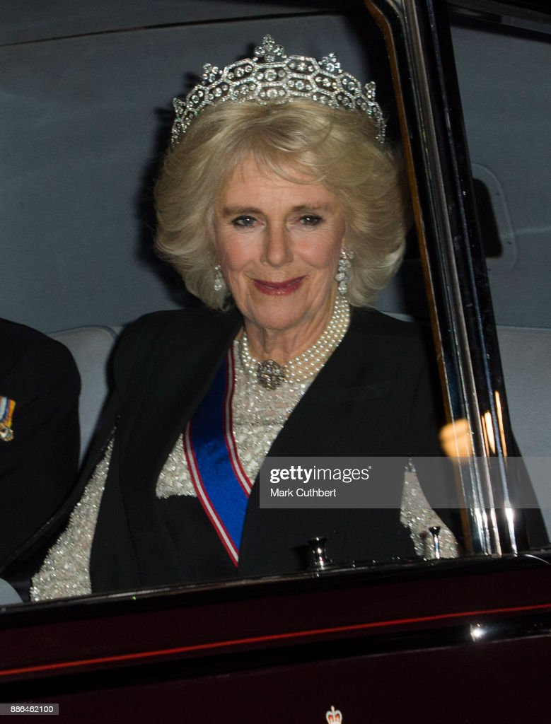 Camilla, Duchess of Cornwall arrives at a Diplomatic Reception at Buckingham Palace on December 5, 2017 in London, England.