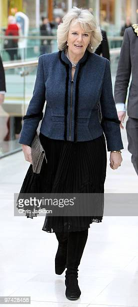 Camilla Duchess of Cornwall arrives at a Mad Hatter's Tea Party at Foyles Westfield on March 4 2010 in London England The Duchess was at the bookshop...
