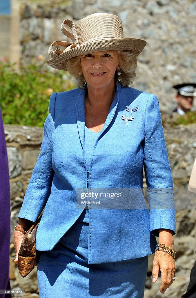 Camilla, Duchess of Cornwall arrives at Castle Cornet with Prince Charles, Prince of Wales, where the States of Guernsey pledged their loyalty to the Queen, on July 19, 2012 in St Peter Port, Guernsey. The Prince of Wales and the Duchess of Cornwall are in Guernsey as part of a Diamond Jubilee visit to the Channel Islands taking in Jersey, Guernsey and Sark.