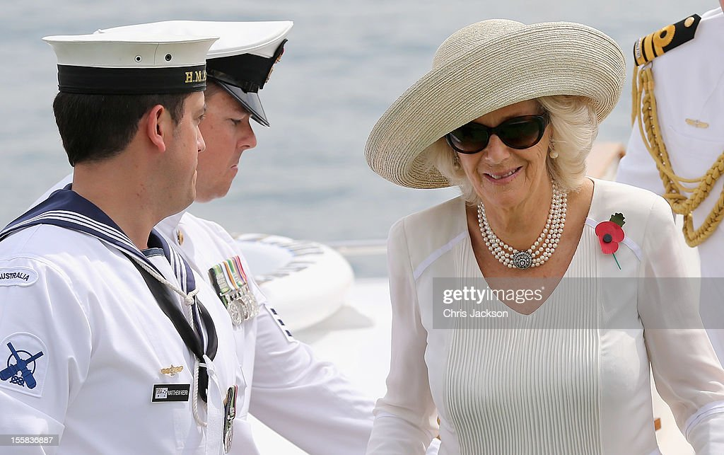 <a gi-track='captionPersonalityLinkClicked' href=/galleries/search?phrase=Camilla+-+Duchess+of+Cornwall&family=editorial&specificpeople=158157 ng-click='$event.stopPropagation()'>Camilla</a>, Duchess of Cornwall arrives at Garden Island Naval Base on November 9, 2012 in Sydney, Australia. The Royal couple are in Australia on the second leg of a Diamond Jubilee Tour taking in Papua New Guinea, Australia and New Zealand.