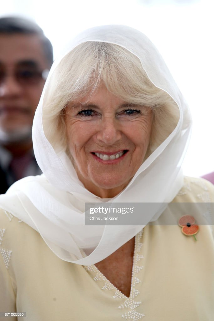 Camilla, Duchess of Cornwall arrives at the Kapitan Keling Mosque on November 7, 2017 in George Town, Penang, Malaysia. Prince Charles, Prince of Wales and Camilla, Duchess of Cornwall are on a tour of Singapore, Malaysia, Brunei and India.