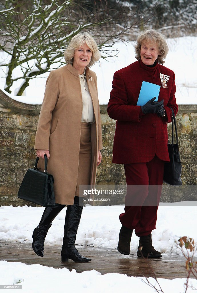 Camilla Duchess of Cornwall arrives at the National Osteoporosis Society Headquarters in the snow on February 5 2009 in Bath England The Duchess is...