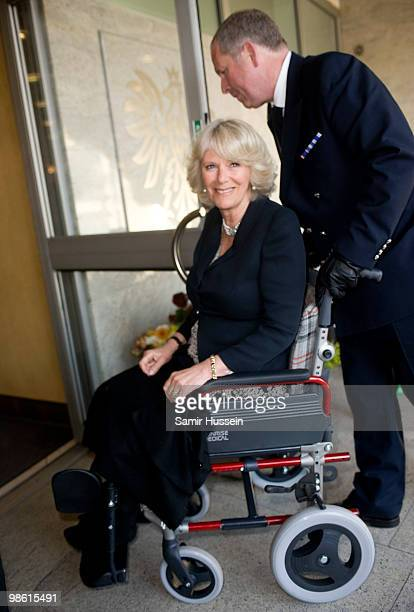 Camilla Duchess of Cornwall arrives at the Polish Cultural Association in her wheelchair on April 22 2010 in London England