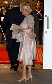Camilla Duchess of Cornwall arrives for a State Dinner at the Presidential Palace for an Official Welcome on October 29 2014 in Bogota Colombia The...