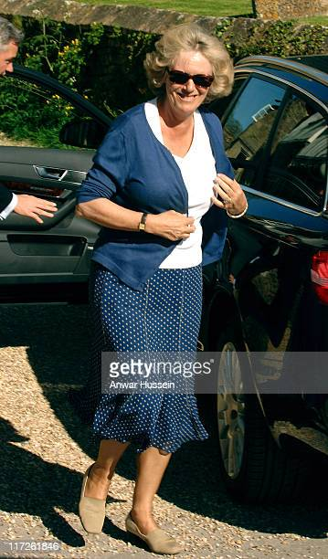 Camilla Duchess of Cornwall arrives for the wedding rehearsal of her daughter Laura Parker Bowles and Harry Lopes at St Cyriac's Church in Lacock...