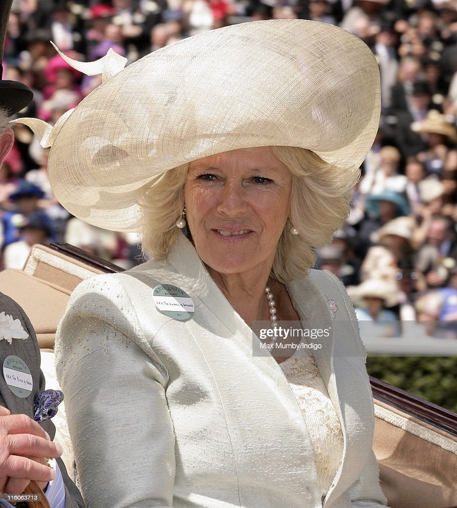 Camilla Duchess of Cornwall arrives in a horse drawn carriage on the opening day of Royal Ascot at Ascot Racecourse on June 14, 2011 in Ascot, United Kingdom.