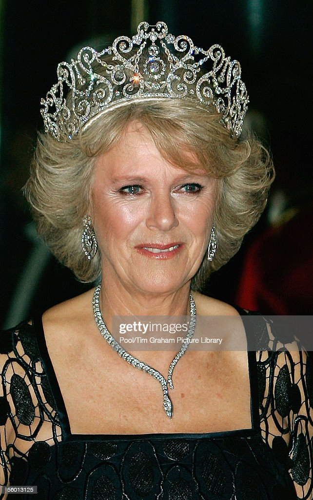 Camilla Duchess of Cornwall arrives in Royal heirloom diamond tiara, necklace and earrings, at a banquet in Buckingham Palace on October 25, 2005 in London, England.