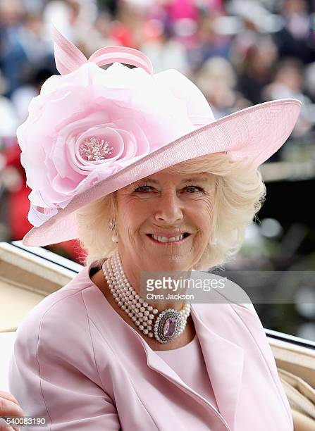 Camilla Duchess of Cornwall arrives in the parade ring at Royal Ascot 2016 at Ascot Racecourse on June 14 2016 in Ascot England