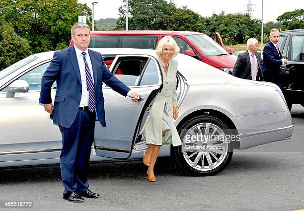 Camilla Duchess of Cornwall arrives to open The Haygarth Building and tours the grounds during an official visit to Countess of Chester Hospital on...