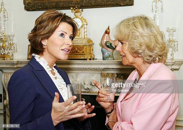 Camilla Duchess of Cornwall at home in Clarence House talks with celebrity news presenter Natasha Kaplinsky at a reception for the Royal Television...