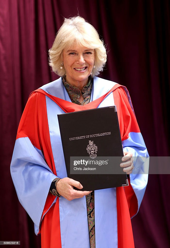 <a gi-track='captionPersonalityLinkClicked' href=/galleries/search?phrase=Camilla+-+Duchess+of+Cornwall&family=editorial&specificpeople=158157 ng-click='$event.stopPropagation()'>Camilla</a>, Duchess Of Cornwall at the University Of Southampton where she was awarded an Honourary Doctorate on February 11, 2016 in Southampton, England.