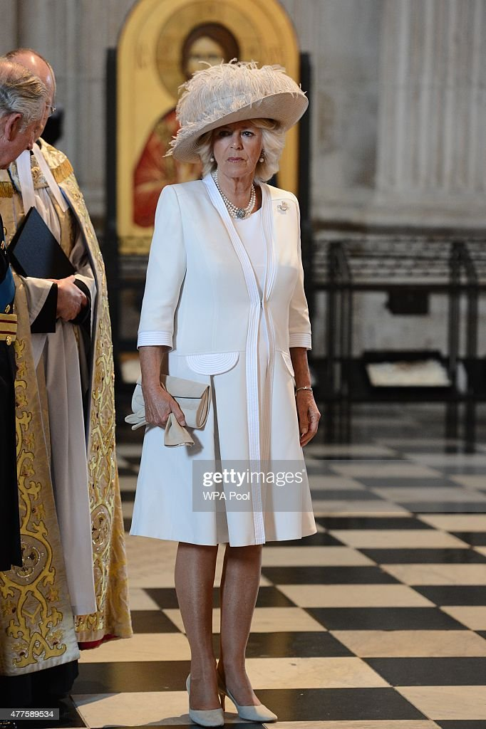 Camilla, Duchess of Cornwall attends a commemoration service to mark the 200th Anniversary of the Battle of Waterloo, at St Paul's Cathedral on June 18, 2015 in London, England.