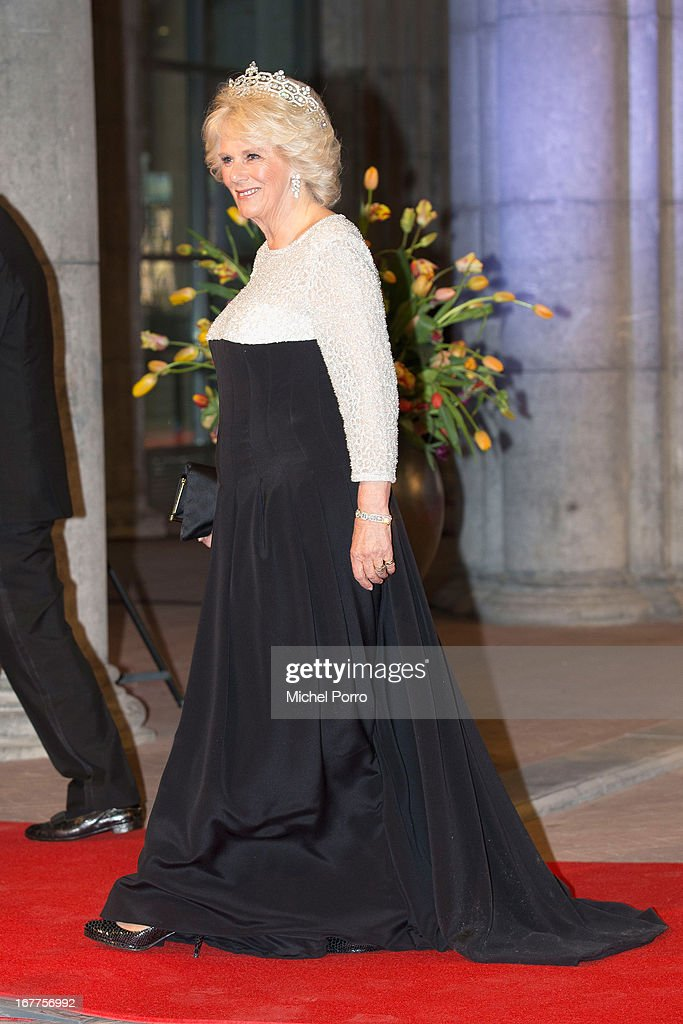 <a gi-track='captionPersonalityLinkClicked' href=/galleries/search?phrase=Camilla+-+Duchess+of+Cornwall&family=editorial&specificpeople=158157 ng-click='$event.stopPropagation()'>Camilla</a>, Duchess of Cornwall attends a dinner hosted by Queen Beatrix of The Netherlands ahead of her abdication at Rijksmuseum on April 29, 2013 in Amsterdam, Netherlands.
