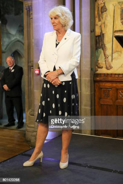 Camilla Duchess of Cornwall attends a reception in Manchester Town Hall to thank those involved during the Manchester Attack on June 26 2017 in...