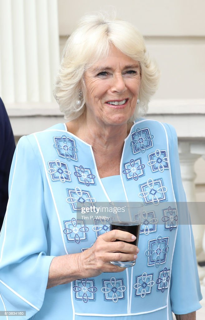 Camilla, Duchess of Cornwall attends a reception to mark her 70th birthday at Clarence House on July 13, 2017 in London, England.