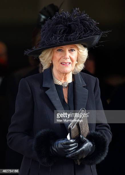 Camilla Duchess of Cornwall attends a service of thanksgiving for the life of John SpencerChurchill 11th Duke of Marlborough at The Guards Chapel...