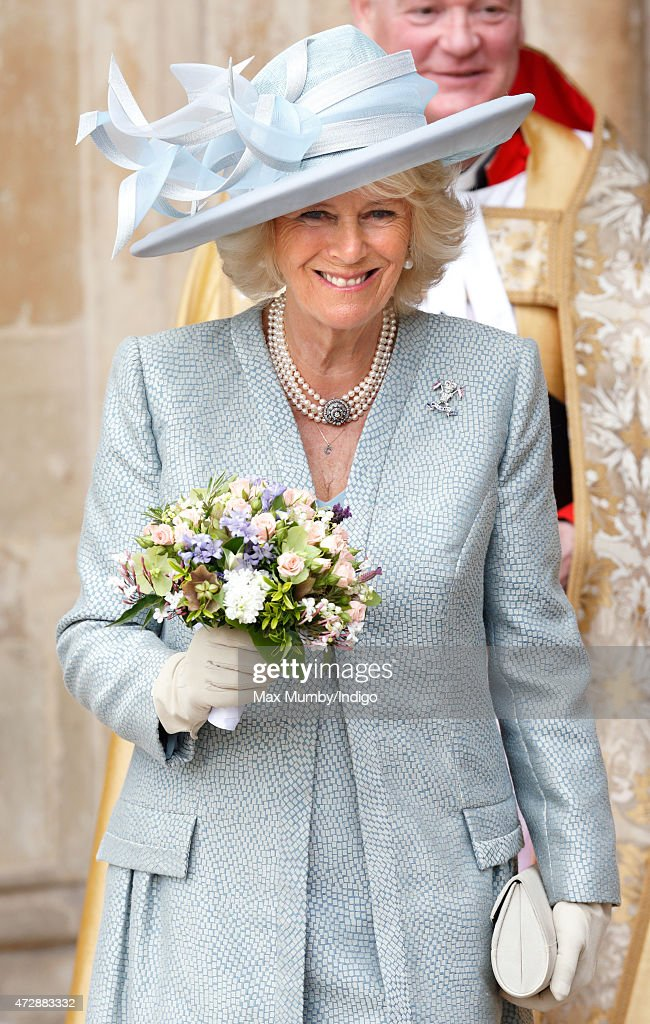 Camilla, Duchess of Cornwall attends a Service of Thanksgiving to mark the 70th Anniversary of VE Day at Westminster Abbey on May 10, 2015 in London, England.