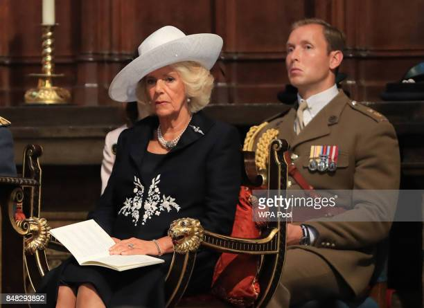 Camilla Duchess of Cornwall attends a service to mark the 77th anniversary of the Battle of Britain at Westminster Abbey on September 17 2017 in...