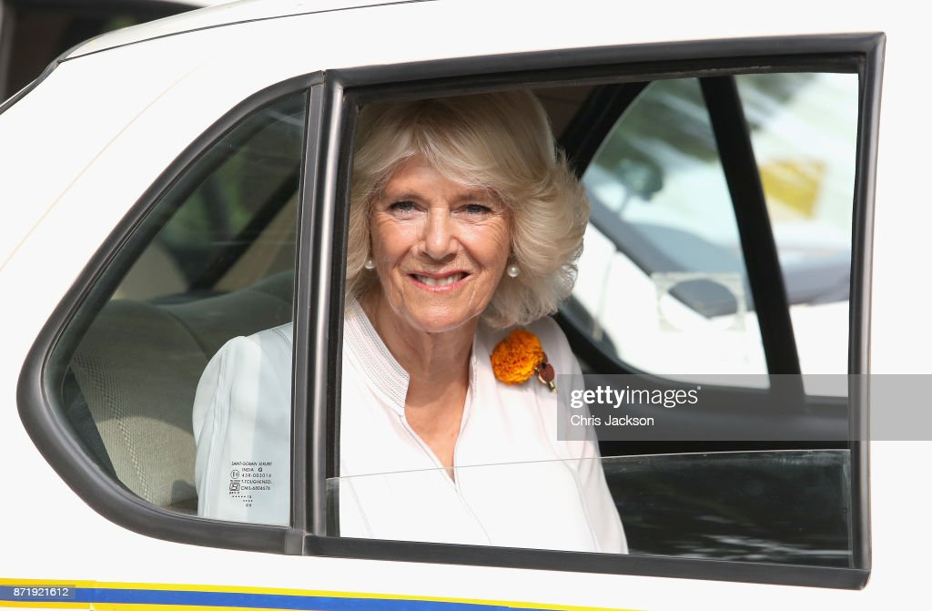 Camilla, Duchess of Cornwall attends a 'Women on Wheels' Charity event, which aims to empower female taxi drivers (from disadvantaged backgrounds) at the British High Commission Residence during a visit to India on November 9, 2017 in New Delhi, India. The Prince of Wales and Duchess of Cornwall are on a tour of Singapore, Malaysia, Brunei and India.