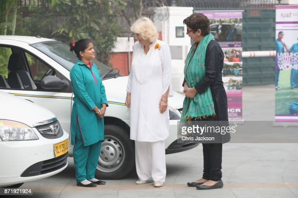 Camilla Duchess of Cornwall attends a 'Women on Wheels' Charity event which aims to empower female taxi drivers at the British High Commission...